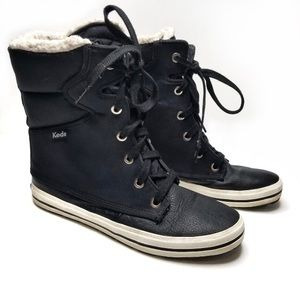 Keds Furry Black Leather Sneaker Boots